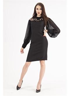 Belamore  Siyah İşleme Detaylı Abiye&Mezuniyet Elbisesi 9704834.01